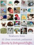 Newborn Hats; 25 free crochet patterns via Underground Crafter | Find your next baby shower gift in this roundup of adorable crocheted hats!
