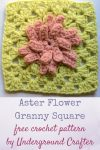 Aster Flower Granny Square, free crochet pattern in Loops & Threads Impeccable yarn by Underground Crafter | Like its namesake, the Aster Flower Granny Square will brighten up any motif project while adding texture and depth. #madewithmichaels #MakeItWithMichaels