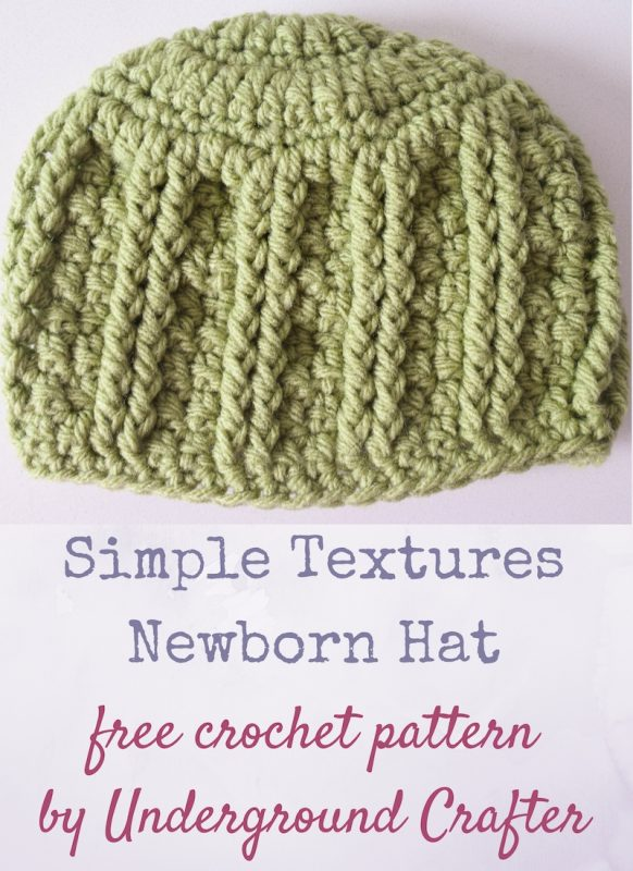 Simple Textures Newborn Hat, free crochet pattern in Loops and Threads Impeccable yarn by Underground Crafter | Columns of paired post stitches create texture in this newborn hat. A video tutorial is available to guide beginners through forming the post stitches. #madewithmichaels #makeitwithmichaels