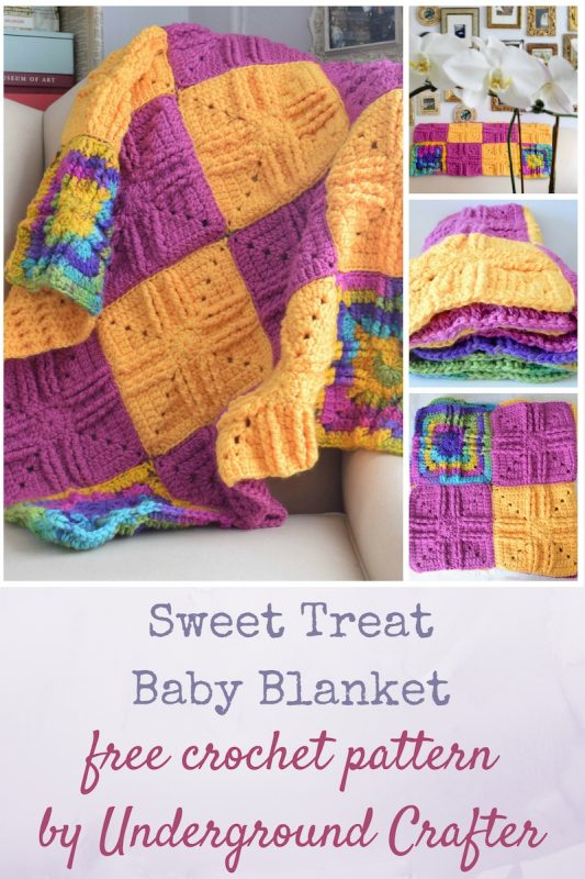 Sweet Treat Baby Blanket, free crochet pattern in Darice All Things You Bulky yarn by Underground Crafter | Textured granny squares and bulky yarn combine to create a cuddly blanket that doubles as a baby floor mat.