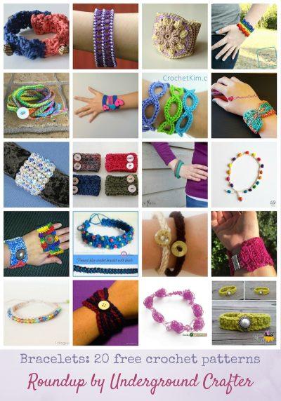Roundup: 20 free crochet bracelet patterns via Underground Crafter