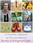 Roundup: 8 crochet patterns by Divine Debris, including women's accessories, amigurumi, and 3 freebie patterns! via Underground Crafter