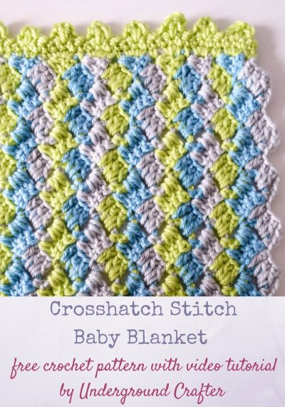 Free crochet pattern: Crosshatch Stitch Baby Blanket in Premier Yarns Everyday Baby with video tutorial by Underground Crafter | This simple stitch pattern creates a delightful chevron without complicated decreases. Carry the unworked yarn up the side while you're working and then cover with a border to minimize the number of yarn tails you need to weave. This pattern makes a great gift for your next baby shower, or is suitable for donation to your favorite children's charity, or one of the organizations highlighted by the Friends of Pine Ridge Reservation.