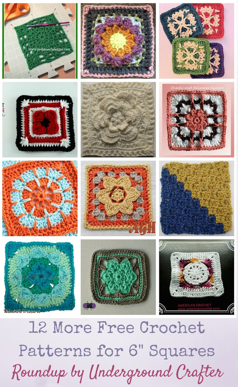 "12 More Free Crochet Patterns for 6"" (15 cm) Squares via Underground Crafter"