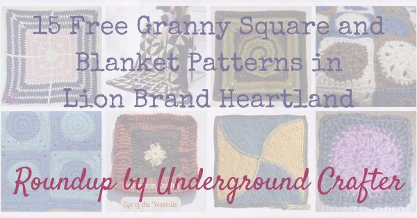 Roundup: 15 free crochet granny square and motif blanket patterns in Lion Brand Heartland yarn via Underground Crafter #grannysquaremonth