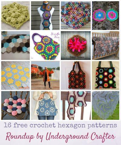 Roundup: 16 free crochet hexagon patterns via Underground Crafter