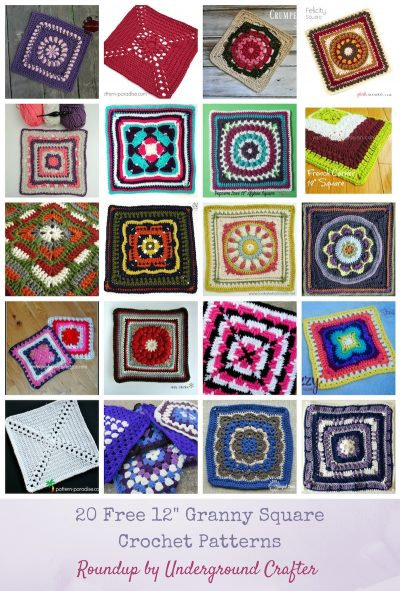 "Roundup: 20 free 12"" (30.5 cm) granny square crochet patterns via Underground Crafter 