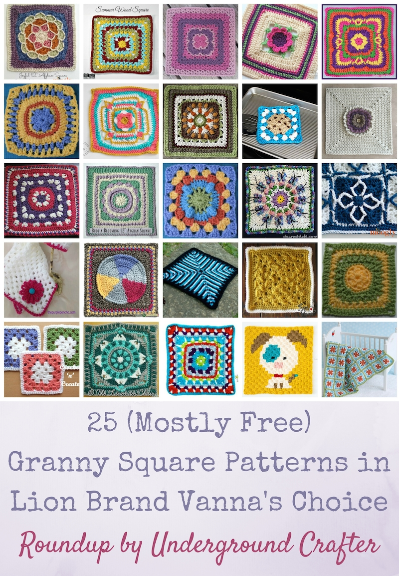 Roundup: 25 (mostly free) crochet granny square patterns in Lion Brand Vanna's Choice yarn | Find your next project in this collection of colorful granny squares by top designers and bloggers.