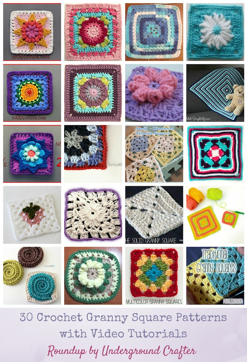 30 Crochet Granny Square Patterns with Video Tutorials via Underground Crafter | If you're new to crochet or prefer to learn through video, find your next granny square project in this roundup of 30 video tutorials by top designers. #grannysquaremonth