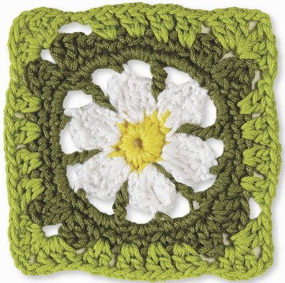 Crochet pattern: April Daisy Square by Margaret Hubert from Granny Square Flowers with book review via Underground Crafter