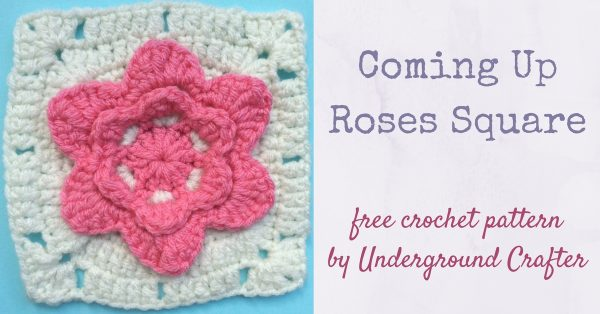 Crochet pattern: Coming Up Roses Square in Red Heart With Love by Underground Crafter | This square features a simple rose pattern at the center. It's one of two squares used in the Picking Flowers Pillow.