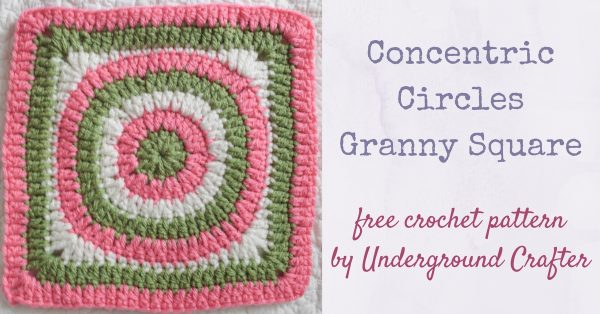 "Concentric Circles Granny Square, free crochet pattern in Red Heart With Love yarn by Underground Crafter | The simple circle-in-a-square pattern is a great stash buster. It meets donation requirements for Knit-A-Square, an organization that distributes crochet and knit blankets (made from 8""/20 cm squares), hats, and toys to children in South Africa. #redheartyarns #joycreators"