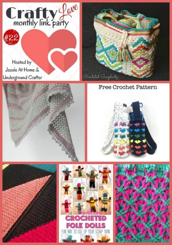 Crafty Love Link Party 22: Share your latest crafty posts including works in progress (WIPs), free patterns, tips, and tutorials with Jessie At Home and Underground Crafter through June 29, 2017. Check out our most clicked on projects from last month's party, including crochet and knitting patterns by A Crocheted Simplicity, Goddess Crochet, Joy with Purpose, Knitting | Work in Progress, Lilia Craft Party, and Strickwetter.