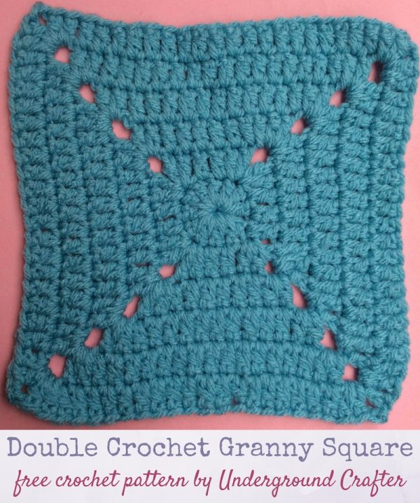 Crochet pattern: Double Crochet Granny Square in Red Heart With Love yarn by Underground Crafter | This variation on the traditional granny square creates a more solid motif for a warmer project. This is one of several motifs used in the Classic Granny with a Twist Blanket.