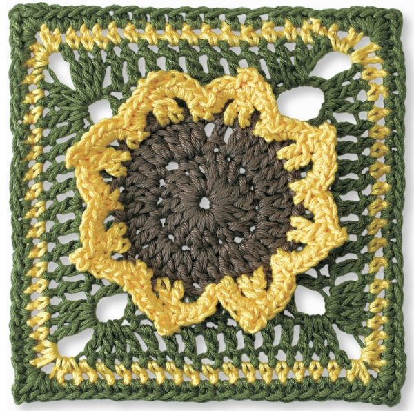 Crochet pattern: Flower Garden Square X by Margaret Hubert with book review of Granny Square Flower Garden: Instructions for Blanket with Choice of 12 Squares via Underground Crafter