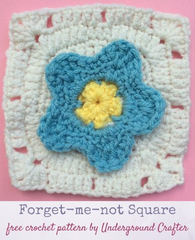Crochet pattern: Forget-me-not Square in Red Heart With Love by Underground Crafter | This simple pattern features a dimensional flower at the center. The last round is perfect for the join-as- you-go method. It's one of two squares used in the Picking Flowers Pillow.