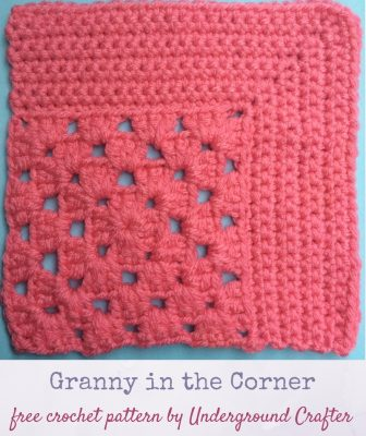 Crochet pattern: Granny in the Corner in Red Heart With Love yarn by Underground Crafter   This motif combines the traditional granny square with a mitered square to create an interesting combination of lace and solid spaces. This is one of several motifs used in the Classic Granny with a Twist Blanket.