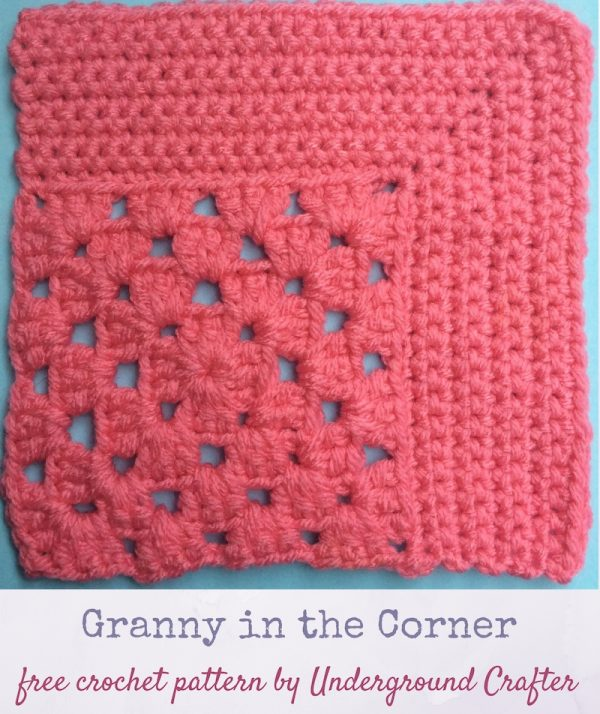 Crochet pattern: Granny in the Corner in Red Heart With Love yarn by Underground Crafter | This motif combines the traditional granny square with a mitered square to create an interesting combination of lace and solid spaces. This is one of several motifs used in the Classic Granny with a Twist Blanket.