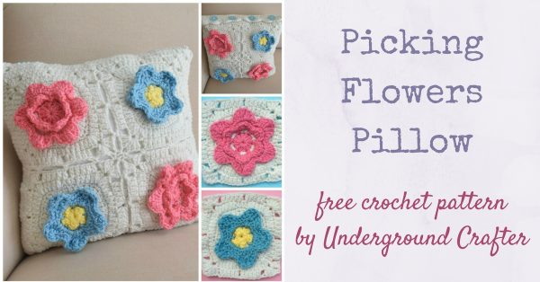 "Free crochet pattern: Picking Flowers Pillow by Underground Crafter | This floral pillow cover features crocheted roses and forget-me-nots. A button closure with a shell edging lets you replace the pillow cover easily. I used Red Heart With Love yarn, a Fairfield Poly-Fil Home Elegance Pillow 14"" x 14"", and 4 Buttons Galore Sparkle Buttons in Aquamist."
