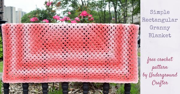Simple Rectangular Granny Blanket, free crochet pattern in Red Heart Super Saver Ombré yarn by Underground Crafter | This rectangular variation on the traditional granny square pattern can easily be adjusted to your preferred size. A simple chain space border adds a finishing touch. Use a self-striping ombré yarn to create beautiful color changes without having to weave in ends.