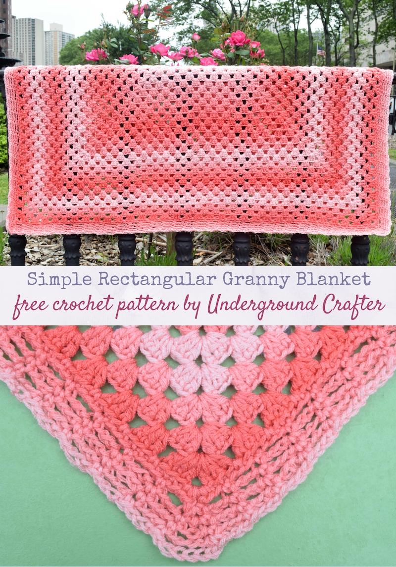 Crochet Pattern Simple Rectangular Granny Blanket Underground Crafter
