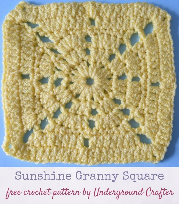 Crochet pattern: Sunshine Granny Square in Red Heart With Love yarn by Underground Crafter | Chain spaces form lacy sunrays in this granny square variation. This is one of several motifs used in the Classic Granny with a Twist Blanket.
