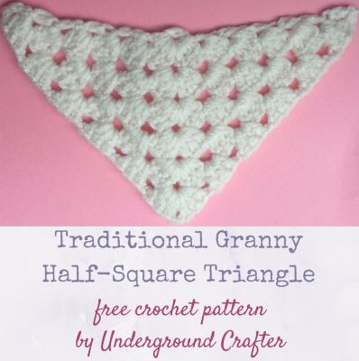 Crochet pattern: Traditional Granny Half-Square Triangle in Red Heart With Love yarn by Underground Crafter   This triangle forms a half square version of the traditional granny square. This is one of several motifs used in the Classic Granny with a Twist Blanket.