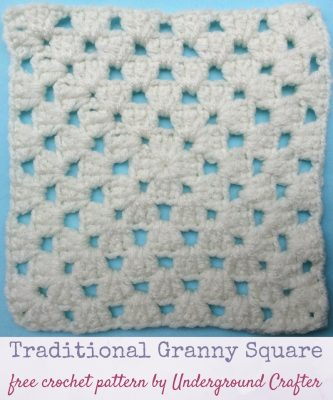 Crochet pattern: Traditional Granny Square in Red Heart With Love Yarn by Underground Crafter   This version of the traditional granny square includes a slight change to the corners that makes edges smoother and color changes easier. This is one of several motifs used in the Classic Granny with a Twist Blanket.