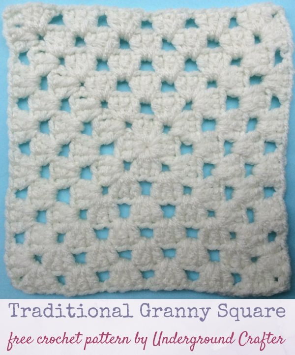 Crochet pattern: Traditional Granny Square in Red Heart With Love Yarn by Underground Crafter | This version of the traditional granny square includes a slight change to the corners that makes edges smoother and color changes easier. This is one of several motifs used in the Classic Granny with a Twist Blanket.
