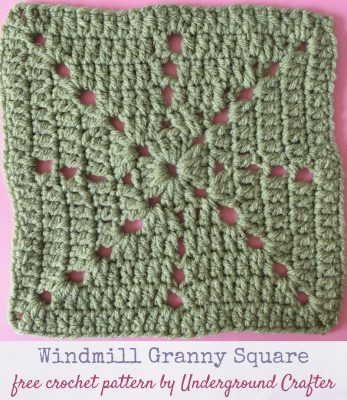 Crochet pattern: Windmill Granny Square in Red Heart With Love yarn by Underground Crafter   Corner and center chain spaces mimic a windmill in this variation on the double crochet granny square. This is one of several motifs used in the Classic Granny with a Twist Blanket.