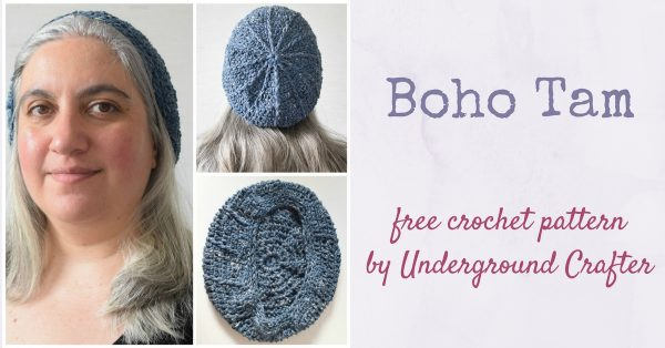 Boho Tam, free crochet pattern in Rowan Stone Washed yarn from Wool and the Gang by Underground Crafter | This retro tam uses a simple pattern and a denim tape yarn to recreate a boho look.