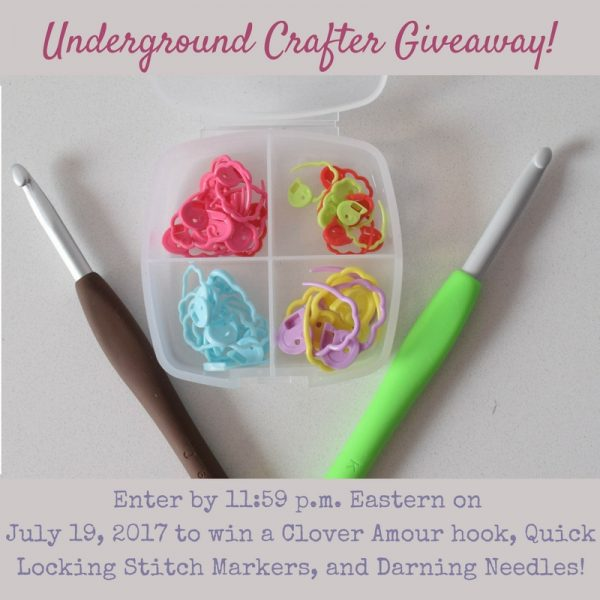 Clover crochet goodies giveaway on Underground Crafter: Enter through July 19, 2017 for your chance to win a Clover Amour crochet hook in your choice of size, a set of Quick Locking Stitch Markers, and a set of darning needles.