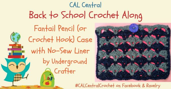 Free crochet pattern: Fantail Pencil (Or Crochet Hook) Case with No-Sew Liner in Lion Brand Jeans by Underground Crafter | A beautiful fantail stitch combines with a sturdy, no-sew liner to keep pencils or hooks inside and away from stitches. Use Duck Brand Color Duck Tape, VELCRO® Brand Sticky Back fasteners, and a Buttons Galore and More Sparkle Button to make a no-sew liner that shows your crochet pride wherever you go!