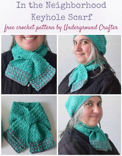 In the Neighborhood Keyhole Scarf, free crochet pattern by Underground Crafter in Neighborhood Fiber Co. Studio Worsted