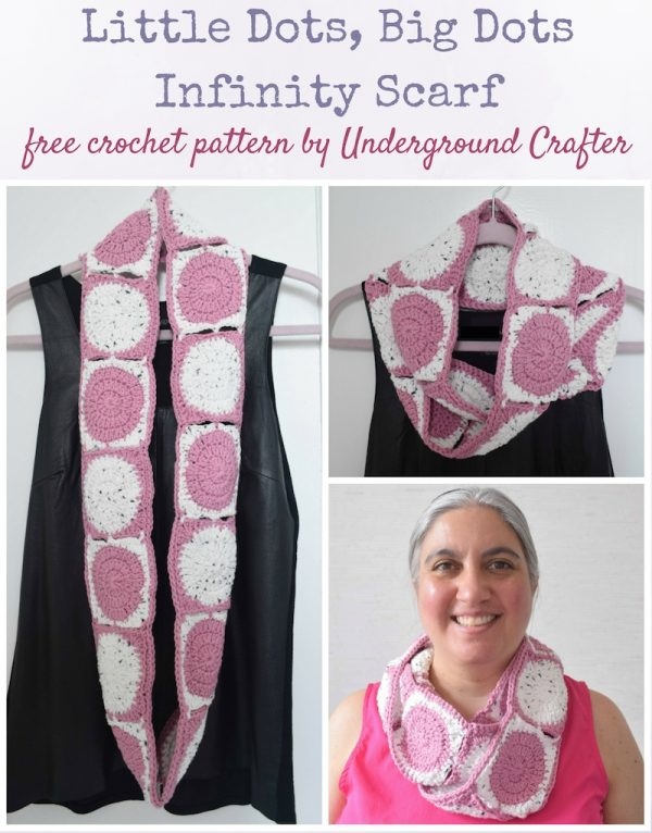 Free crochet pattern: Little Dots, Big Dots Infinity Scarf in Wool and the Gang Shiny Happy Cotton by Underground Crafter | Simple circle-in-a-square motifs are connected with the join-as-you-go method to create a bold infinity scarf to brighten your day. A soft cotton yarn makes this neckwarmer perfect for all but the coldest winter nights.