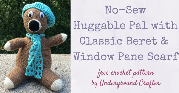 No-Sew Huggable Pal with Classic Beret and Window Pane Scarf, free crochet pattern in Red Heart Super Saver yarn by Underground Crafter | This amigurumi pal is crocheted in one piece with no sewing! Accessorize your pal with a classic beret and lacy scarf. The Poly-Fil Supreme® Ultra Plush Fiber Fill makes it extra soft and cuddly. #joycreators #fairfieldworld #attheheartofyourproject#redheartyarns
