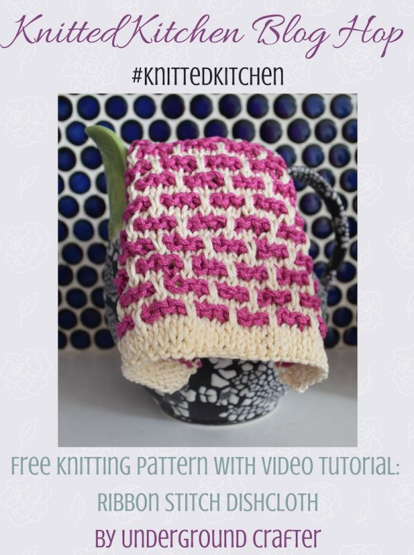 Free knitting pattern: Ribbon Stitch Dishcloth in Lion Brand 24/7 Cotton with video tutorial by Underground Crafter   Slip stitches make colorwork easy on this simple dishcloth. Use contrasting colors, or go scrappy different results. #knittedkitchen
