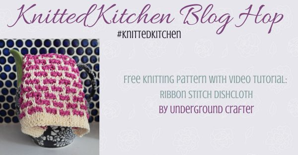 Free knitting pattern: Ribbon Stitch Dishcloth in Lion Brand 24/7 Cotton with video tutorial by Underground Crafter | Slip stitches make colorwork easy on this simple dishcloth. Use contrasting colors, or go scrappy different results. #knittedkitchen