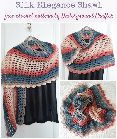 Free crochet pattern: Silk Elegance Shawl in Darn Good Yarn Herbal Dyed Recycled Silk DK yarn by Underground Crafter | Beautiful colors and a smooth, silky drape combine in this rectangular shawl with a curved motif border.