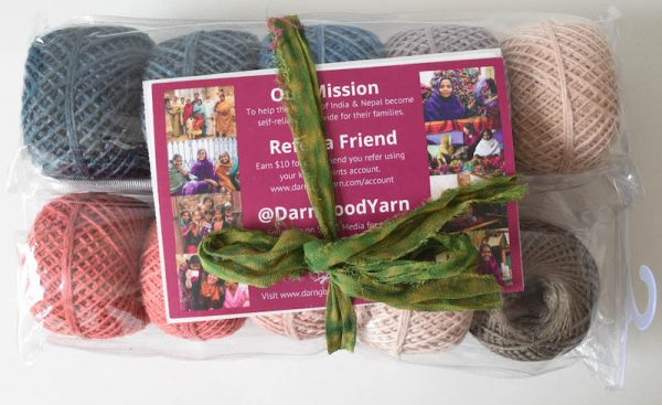 Darn Good Yarn Herbal Dyed Recycled Silk DK yarn unboxing - Free crochet pattern: Silk Elegance Shawl in Darn Good Yarn Herbal Dyed Recycled Silk DK yarn by Underground Crafter | Beautiful colors and a smooth, silky drape combine in this rectangular shawl with a curved motif border.