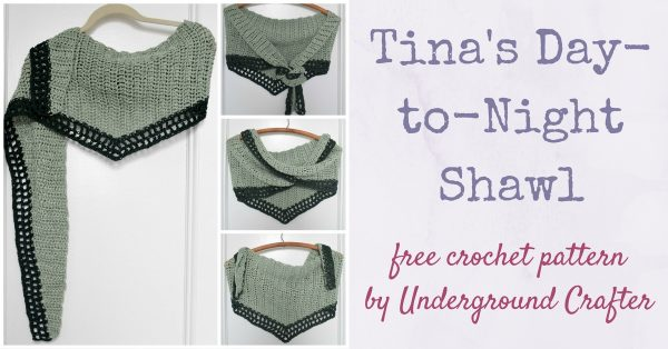Tina's Day-to-Night Shawl, free crochet pattern in Wool and the Gang Tina Tape yarn by Underground Crafter   This easy-to-make, large shawl transitions seamlessly from day-to-night with you. It's perfect for wearing to work, with jeans, or when dressed up for a night out. The tencel yarn creates excellent drape.