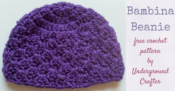 Free crochet pattern: Bambina Beanie in Lion Brand Heartland by Underground Crafter | A small shell stitch adds a delicate touch to this newborn beanie. This pattern meets donation requirements for CLICK for Babies, a campaign against infant abuse.