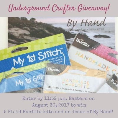 Enter through August 30, 2017 for your chance to win an issue of By Hand Lookbook No. 2 and five Plaid Bucilla stitchable, counted cross stitch, and stamped embroidery kits from Underground Crafter