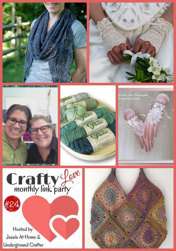 Crafty Love Link Party 24 (August, 2017) with Jessie At Home and Underground Crafter | Share your latest crafty projects, WIPs, tips, tutorials, and patterns through August 31, 2017. All crafts are welcome! Check out our six most popular posts from last month, including free crochet patterns, crochet and knitting tips, and knitting inspiration by Remade by Hand, Crochet Memories, Stashing Yarn, Knitting | Work in Progress, Knit's All Folks, and Kirsten Holloway Designs.