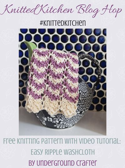 Free knitting pattern: Easy Ripple Washcloth in Lion Brand 24/7 Cotton yarn with video tutorial by Underground Crafter | This easy-to-remember stitch pattern is great for ripple newbies. Slightly lacy, it makes a better washcloth than a dishcloth. #knittedkitchen