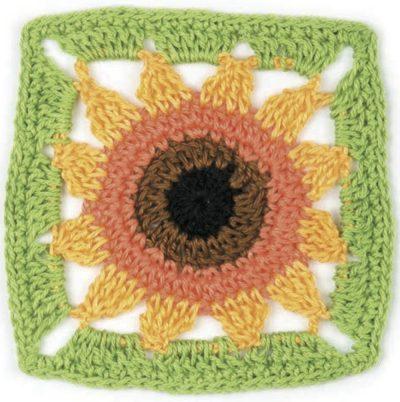 Free crochet pattern: Sunflower motif by May Corfield via Underground Crafter