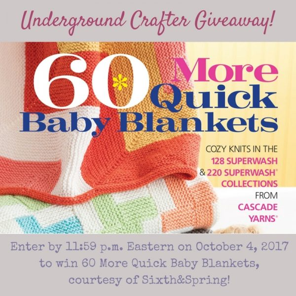 Book Review: 60 More Quick Baby Blankets by Sixth&Spring via Underground Crafter with excerpted pattern: Railroad Tracks by Cheryl Lavenhar | Enter through October 4, 2017 for your chance to win a copy!