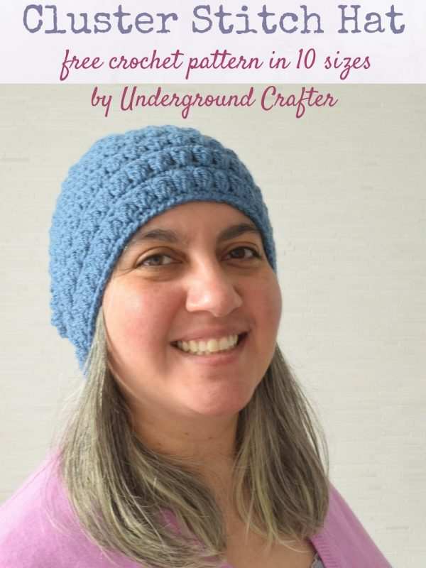 Free crochet pattern: Cluster Stitch Hat in 10 sizes in Craftsy's Sprightly Acrylic Worsted yarn by Underground Crafter | Cluster stitches add texture and warmth to this unisex beanie.