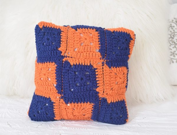 "5 Tips for Getting Ready to Live in a Dorm Room or Off-Campus Apartment with CollegeCovered.com by Underground Crafter with free crochet pattern for the L Square Pillow in Red Heart Super Saver yarn using a Fairfield Crafter's Choice 12"" x 12"" Pillow"