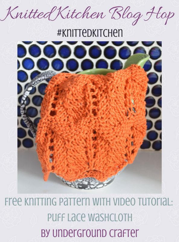 """Free knitting pattern: Puff Lace Washcloth in Lion Brand 24/7 Cotton yarn 